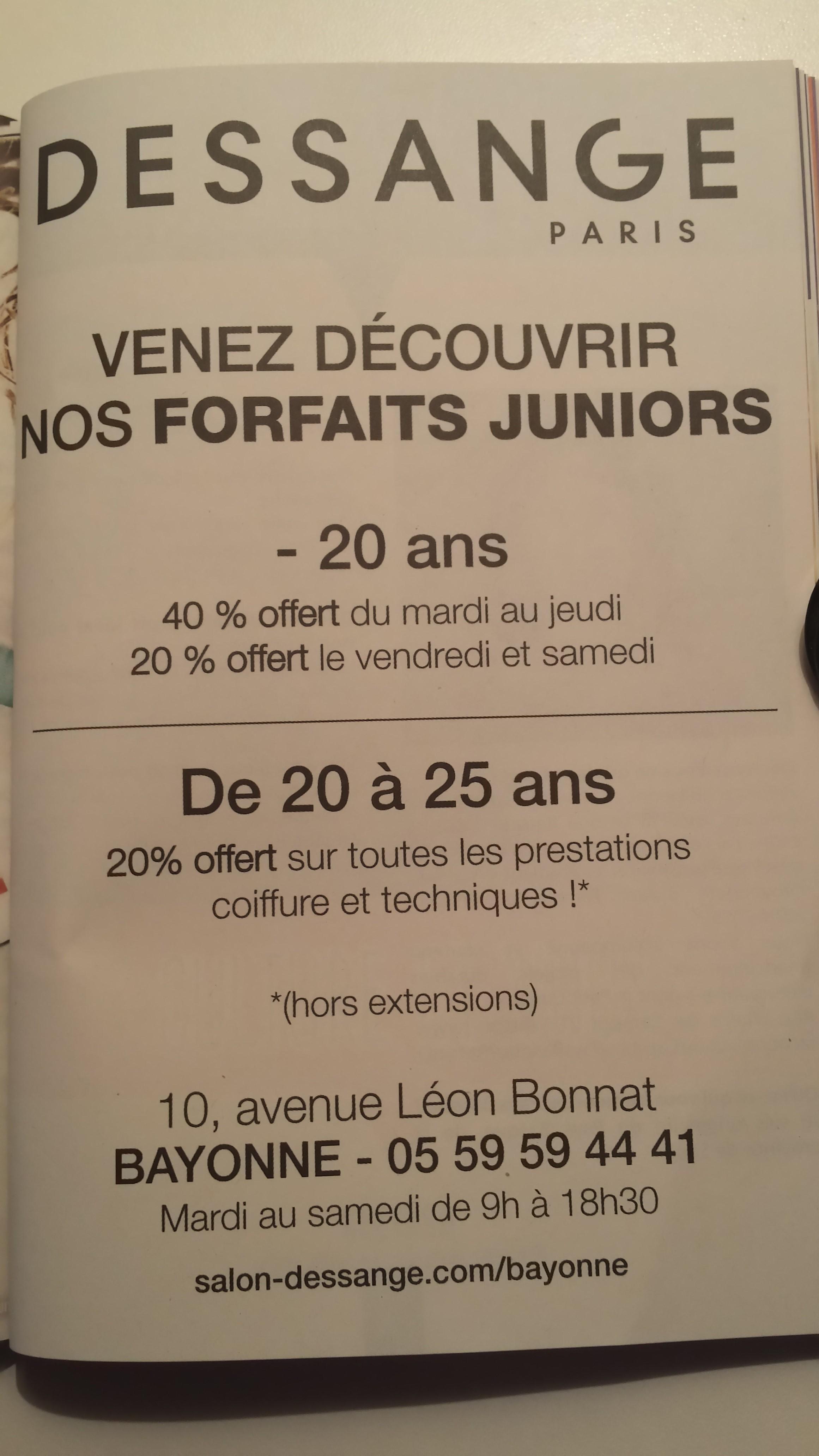 Forfait coiffeur -20 ans - Dessange Bayonne
